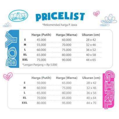 Price List ArasyiKids