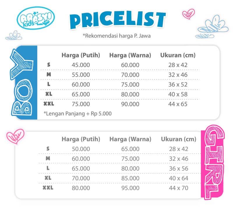 Pricelist Kaos Anak Muslim ArasyiKids