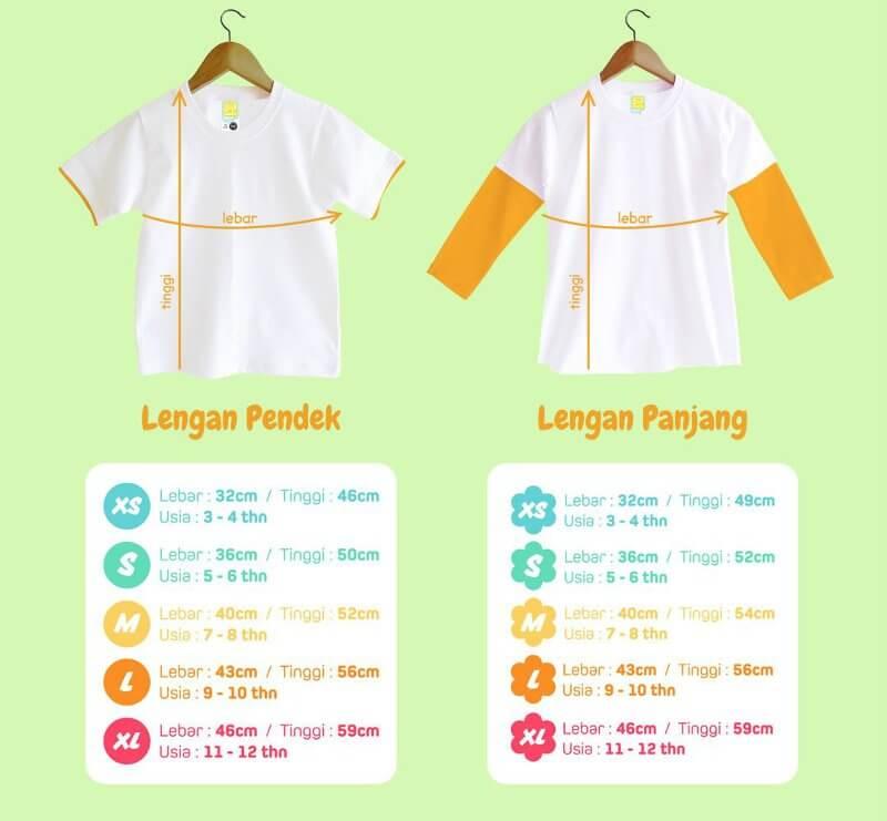 Size Chart Kaos Anak Muslim Bilhikma