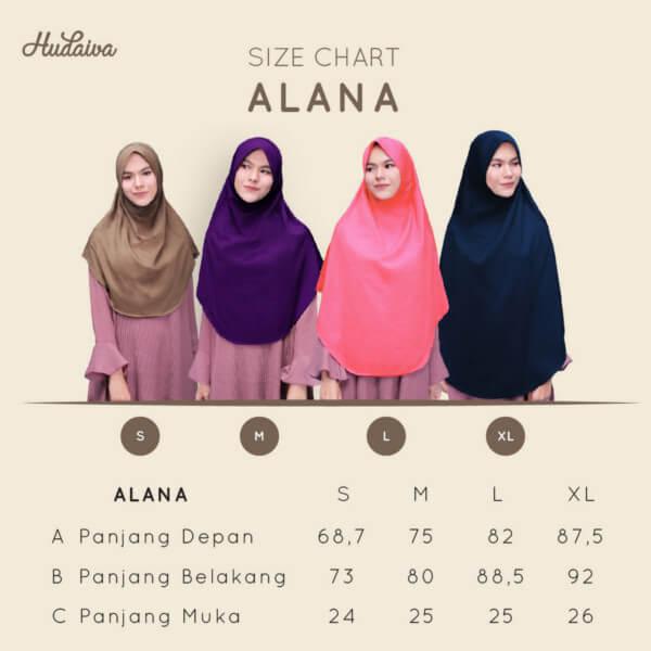 Size Chart Jilbab Alana