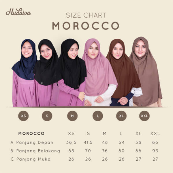 Size Chart Jilbab Morocco