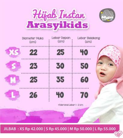 Size Chart jilbab instan ArasyiKids