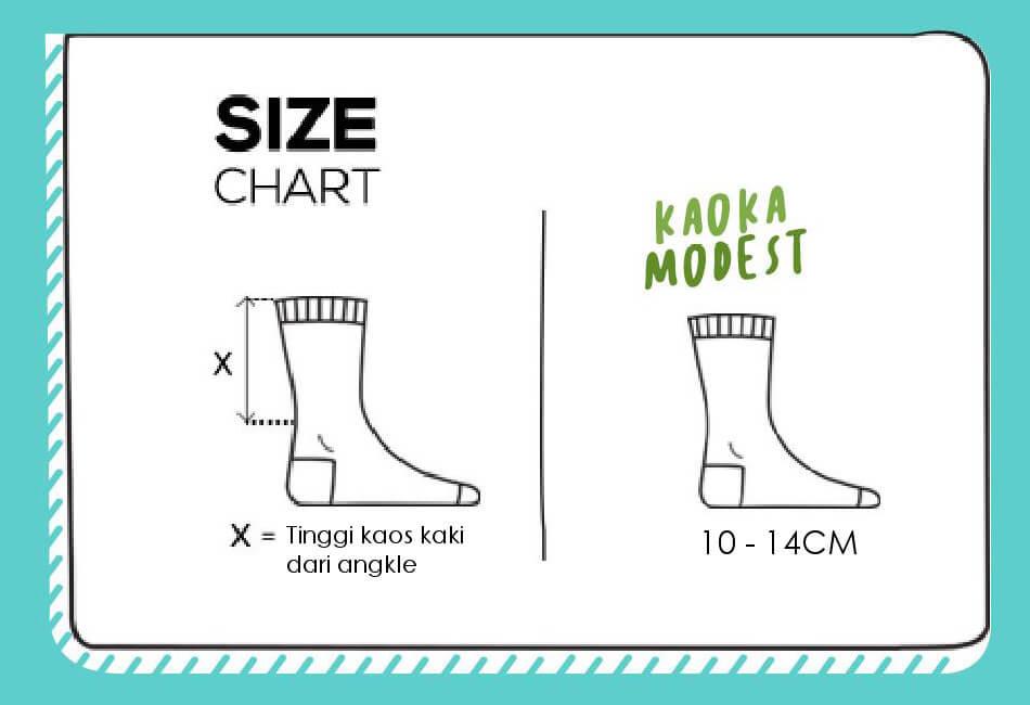 Size Chart Kaos Kaki Kaoka Modest