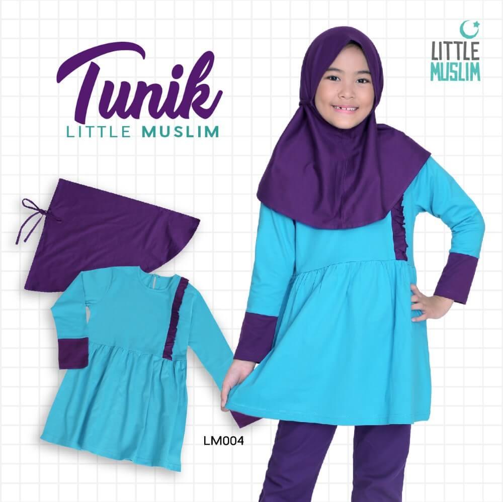 Set Baju Tunik Anak & Jilbab Little Muslim AFRA - LM004