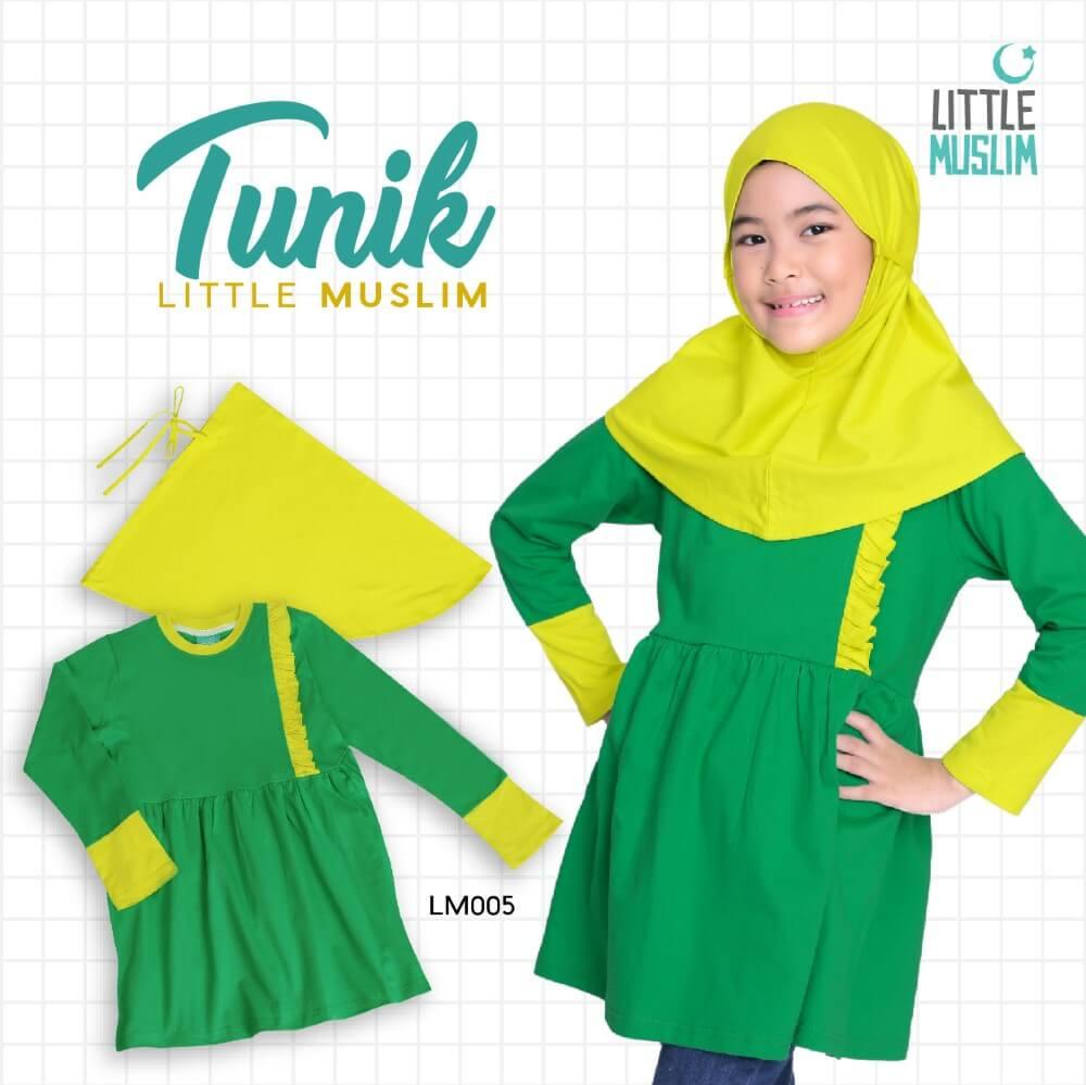 Set Baju Tunik Anak & Jilbab Little Muslim AFRA - LM005