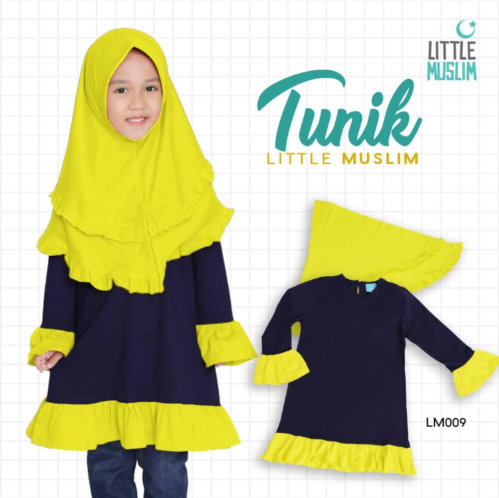 Set Baju Tunik Anak & Jilbab Little Muslim AFRA - LM009