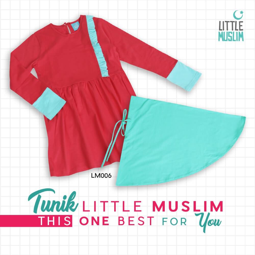 Set Baju Tunik Anak & Jilbab Little Muslim AFRA - LM006
