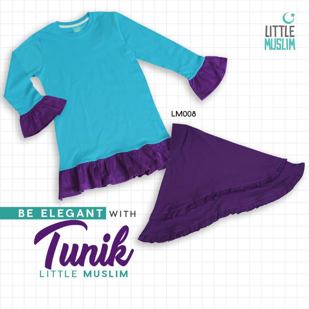 Set Baju Tunik Anak & Jilbab Little Muslim AFRA - LM008