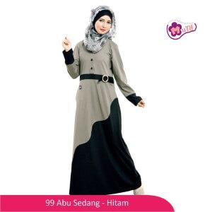 Gamis Dewasa Mutif MTIF - 99A Abu Sedang - Hitam