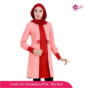 Tunik Dewasa Mutif MTIF - 161D Strawbery Pink - Rio Red