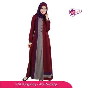 Gamis Dewasa Mutif MTIF - 174A Burgundy - Abu Sedang