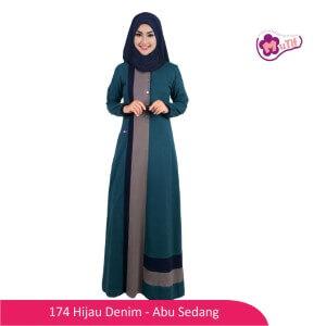 Gamis Dewasa Mutif MTIF - 174B Hijau Denim - Abu Sedang