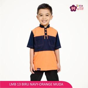 Baju Koko Anak Mutif MTIF - LMB 13A Biru Navy - Orange Muda