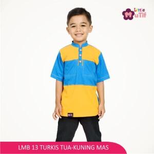 Baju Koko Anak Mutif MTIF - LMB 13C Turkis Tua - Kuning Mas