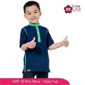 Baju Koko Anak Mutif MTIF - LMB 18A Biru Navy - Hijau Fuji