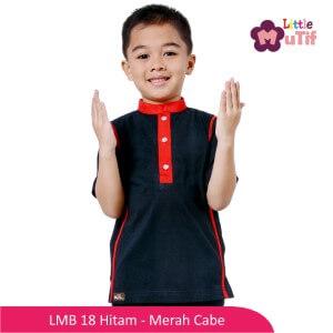 Baju Koko Anak Mutif MTIF - LMB 18B Hitam - Merah Cabe