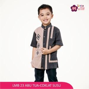 Baju Koko Anak Mutif MTIF - LMB 23A Abu Tua - Coklat Susu