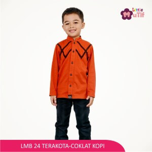 Baju Koko Anak Mutif MTIF - LMB 24A Terakota - Coklat Kopi