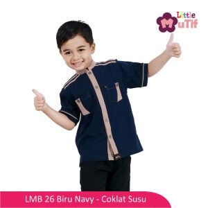 Baju Koko Anak Mutif MTIF - LMB 26A Biru Navy - Coklat Susu