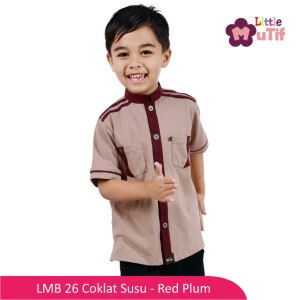 Baju Koko Anak Mutif MTIF - LMB 26B Coklat Susu - Red Plum