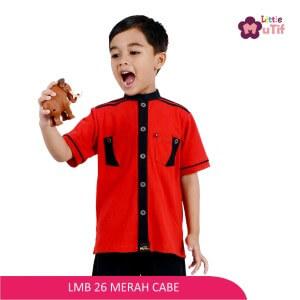Baju Koko Anak Mutif MTIF - LMB 26C Merah Cabe - Hitam