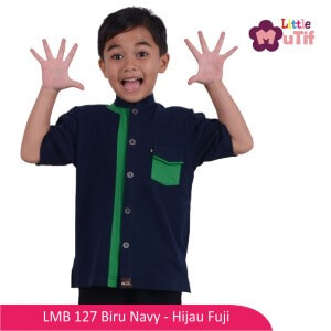 Baju Koko Anak Mutif MTIF - LMB 27A Biru Navy - Hijau Fuji