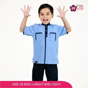 Baju Koko Anak Mutif MTIF - LMB 28B Biru Langit - Biru Navy