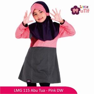 Tunik Anak Mutif MTIF - LMG 115A Abu Tua - Pink DW