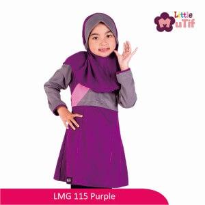 Tunik Anak Mutif MTIF - LMG 115E Ungu Purple - Abu Sedang