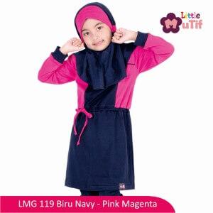 Tunik Anak Mutif MTIF - LMG 119A Biru Navy - Pink Magenta