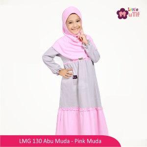 Gamis Mutif MTIF - LMG 130A Abu Muda - Pink Muda