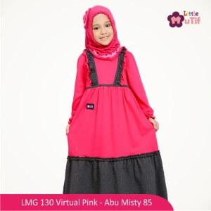 Gamis Anak Mutif MTIF - LMG 130B Virtual Pink - Abu Misty 85