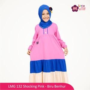 Gamis Anak Mutif MTIF - LMG 132C Shocking Pink - Biru Benhur