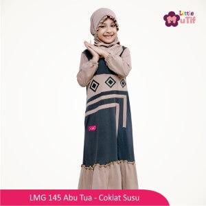 Gamis Anak Mutif MTIF - LMG 145A Abu Tua - Coklat Susu