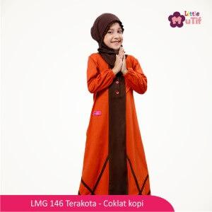 Gamis Anak Mutif MTIF - LMG 146A Terakota - Coklat Kopi