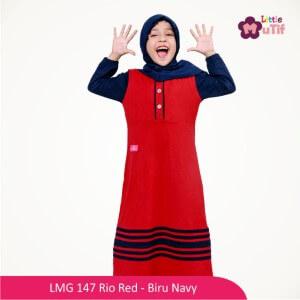 Gamis Anak Mutif MTIF - LMG 147A Rio Red - Biru Navy