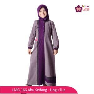 Gamis Anak Mutif MTIF - LMG 166A Abu Sedang - Ungu Tua