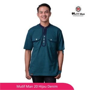 Baju Koko Dewasa Mutif MTIF - MM0020B Hijau Denim - Biru Navy