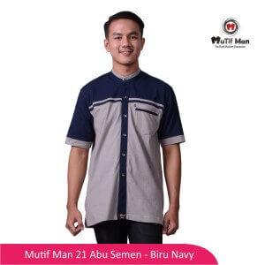 Baju Koko Dewasa Mutif MTIF - MM0021A Abu Semen - Biru Navy