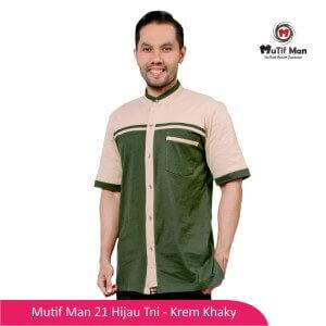 Baju Koko Dewasa Mutif MTIF - MM0021B Hijau TNI - Krem Khaky