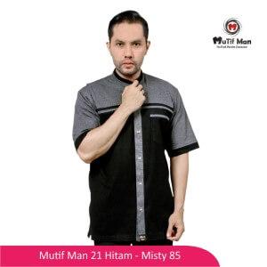 Baju Koko Dewasa Mutif MTIF - MM0021C Hitam - Abu Misty 85