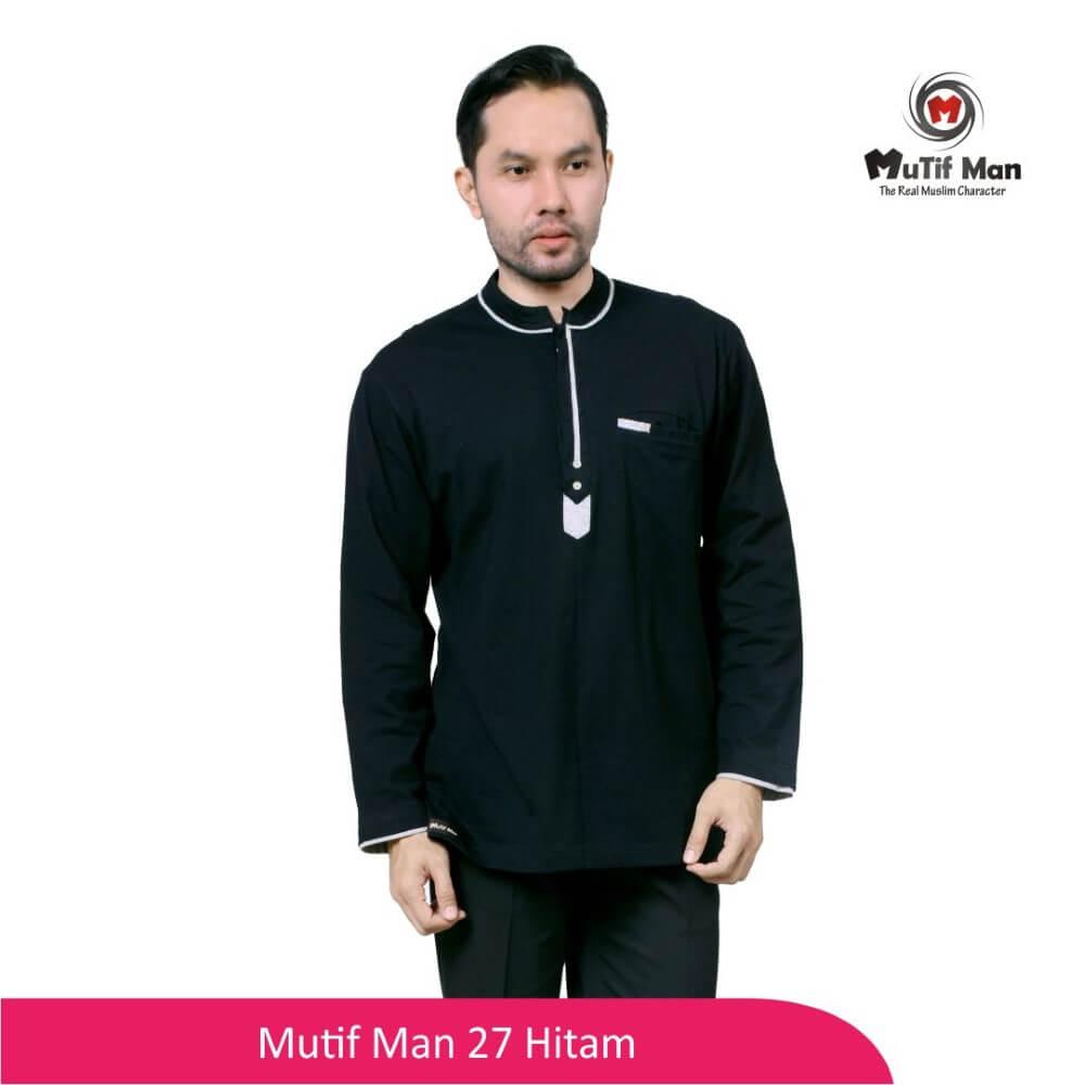 Baju Koko Dewasa Mutif MTIF - MM0027A Hitam - Abu Misty 71