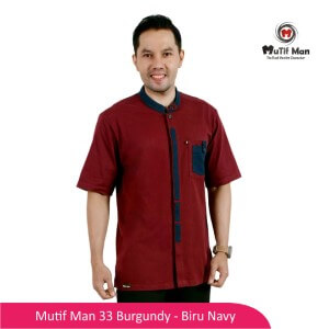 Baju Koko Dewasa Mutif MTIF - MM0033D Burgundy - Biru Navy