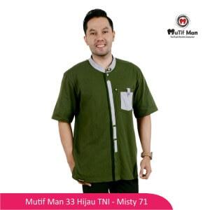 Baju Koko Dewasa Mutif MTIF - MM0033F Hijau TNI - Abu Misty 71