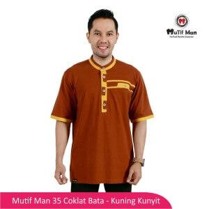 Baju Koko Dewasa Mutif MTIF - MM0035B Coklat Bata - Kuning Kunyit