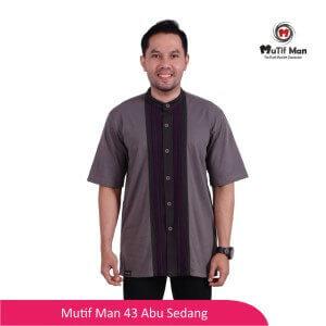 Baju Koko Dewasa Mutif MTIF - MM0043A Abu Sedang - Abu Tua