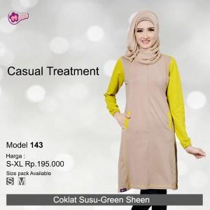 Tunik Mutif MTIF - 143B Coklat Susu - Green Sheen