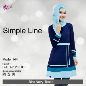 Tunik Mutif MTIF - 144A Biru Navy - Toska Muda
