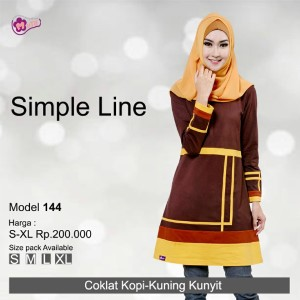 Tunik Mutif MTIF - 144B Coklat Kopi - Kuning Kunyit