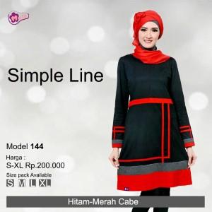 Tunik Mutif MTIF - 144C Hitam - Merah Cabe